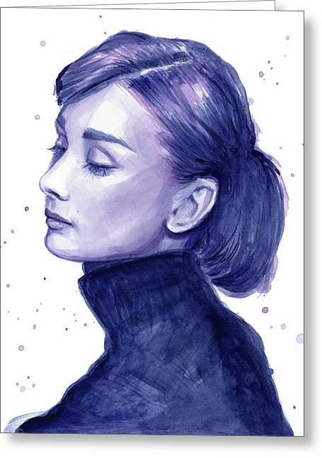 White Art Greeting Cards - Audrey Hepburn Portrait Greeting Card by Olga Shvartsur
