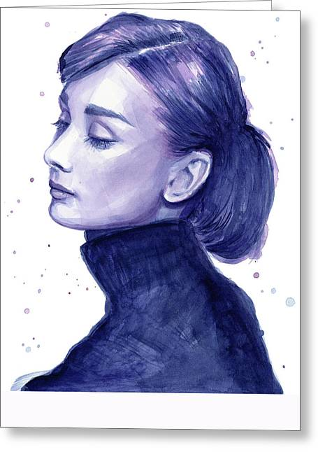 Black And White Print Greeting Cards - Audrey Hepburn Portrait Greeting Card by Olga Shvartsur