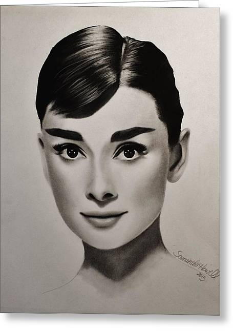 Photo-realism Mixed Media Greeting Cards - Audrey Hepburn Greeting Card by Samantha Howell