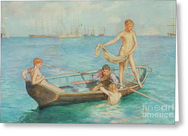 On The Beach Greeting Cards - August Blue Greeting Card by Henry Scott Tuke
