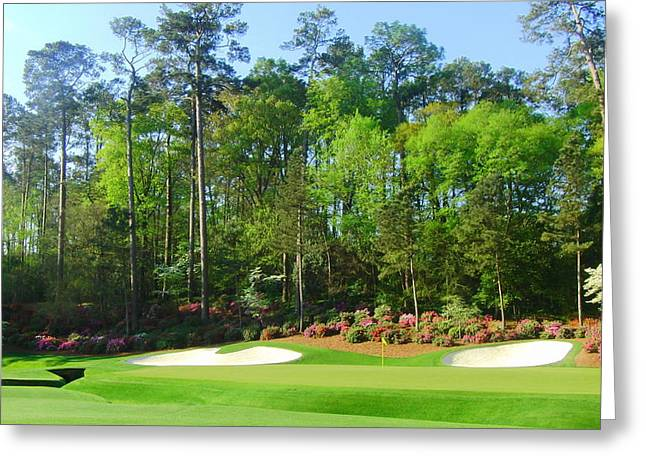 Golf Pictures Greeting Cards - Augusta National - Hole 13 Greeting Card by Bo  Watson
