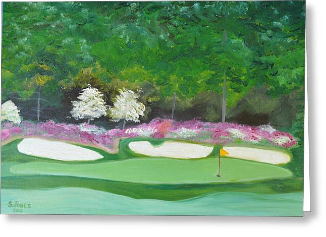 Hole 12 Greeting Cards - Augusta National Amen Corner Hole 12 Greeting Card by Sally Jones