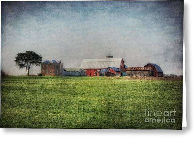 Old Farm House Greeting Cards - Aunt Flossies Farm Greeting Card by Pamela Baker