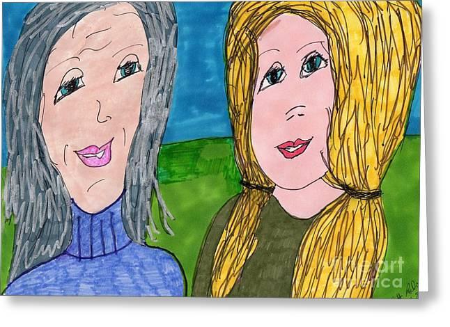 Gray Hair Mixed Media Greeting Cards - Aunts Advice Greeting Card by Elinor Rakowski