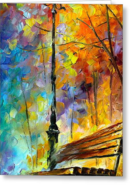 Park Benches Paintings Greeting Cards - Aura of Autumn 2 Greeting Card by Leonid Afremov