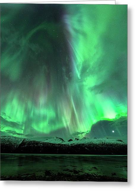 Aurora Borealis During Geomagnetic Storm Greeting Card by Tommy Eliassen