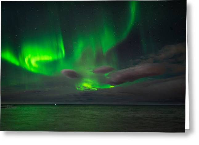 Evening Scenes Greeting Cards - Aurora Borealis Or Northern Lights Greeting Card by Panoramic Images