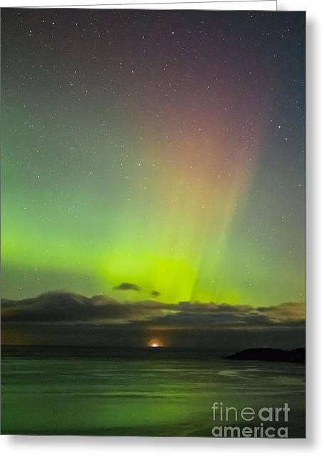 Kodiak Pyrography Greeting Cards - Aurora Borealis over Monashka Bay Greeting Card by Jason Thill