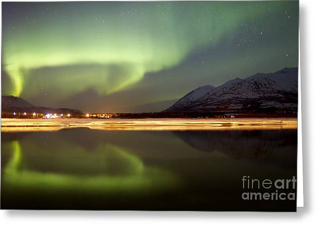 Reflections Of Sky In Water Greeting Cards - Aurora Borealis Over Nares Lake Greeting Card by Joseph Bradley