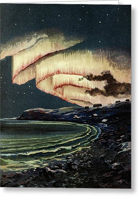 Arctic Greeting Cards - Aurora borealis Greeting Card by Science Photo Library