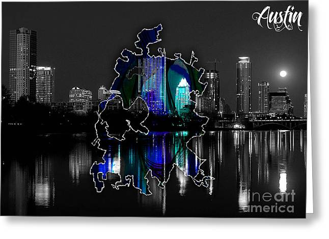 Austin Texas Map And Skyline Watercolor Greeting Card by Marvin Blaine