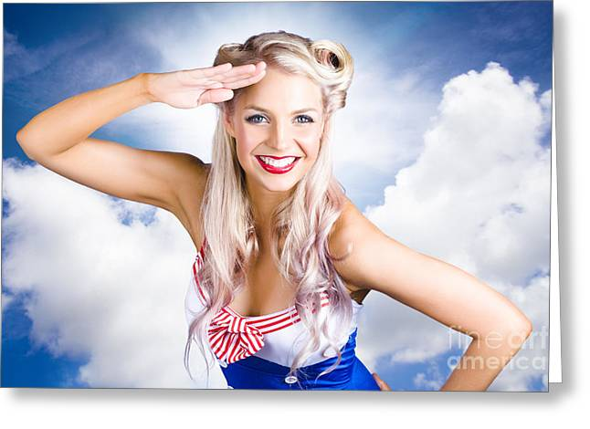 Ahoy Greeting Cards - Australian Navy Girl Saluting Australia Day Greeting Card by Ryan Jorgensen