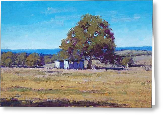 Shed Paintings Greeting Cards - Australian Summer Landscape Greeting Card by Graham Gercken