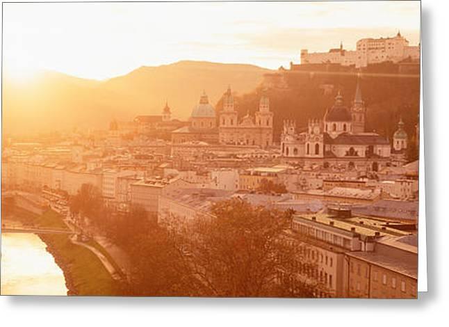 Salzburg Photographs Greeting Cards - Austria, Salzburg, Salzach River Greeting Card by Panoramic Images