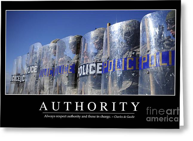 Police Officer Photographs Greeting Cards - Authority Inspirational Quote Greeting Card by Stocktrek Images