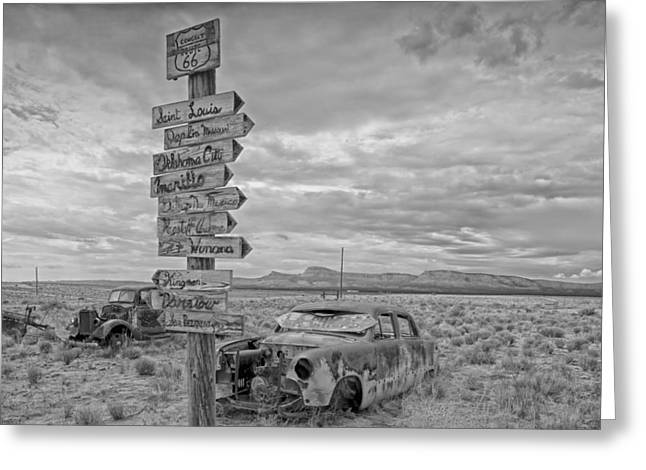 Route 66 Sights Greeting Cards - Auto Graveyard Beside Route 66 in Arizona Greeting Card by Mountain Dreams
