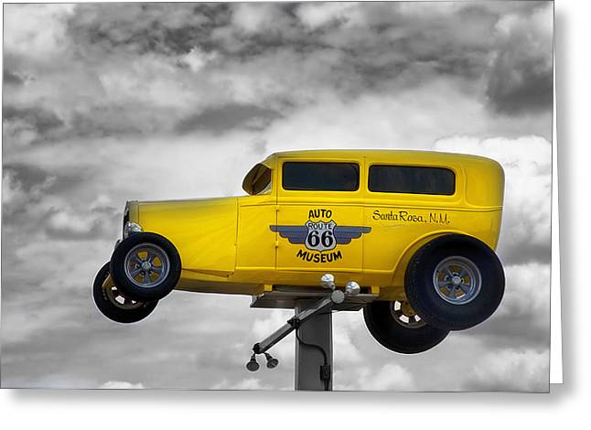 Unique Sights Greeting Cards - Auto Museum Welcome - Santa Rosa New Mexico Greeting Card by Mountain Dreams