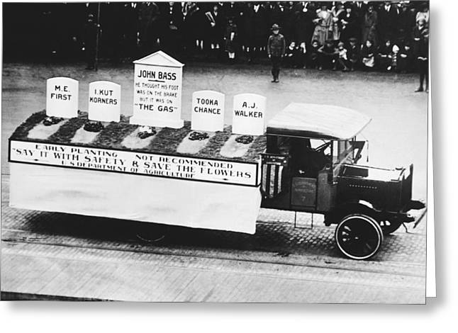 Auto Safety Parade Greeting Card by Underwood Archives