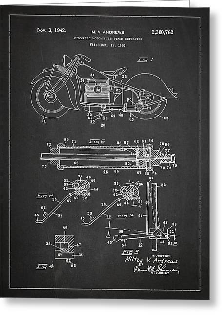 Motorcycles Greeting Cards - Automatic Motorcycle Stand Retractor Patent Drawing From 1940 Greeting Card by Aged Pixel