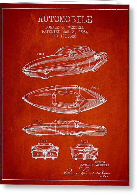 Driving Greeting Cards - Automobile Patent from 1954 Greeting Card by Aged Pixel