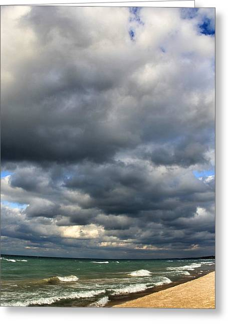 Beach Sand Birds Flying Clouds Sun Sky Trees Grass Building Day Beautiful Wings Flock Greeting Cards - Autumn at Lake Michigan Greeting Card by Paul Szakacs