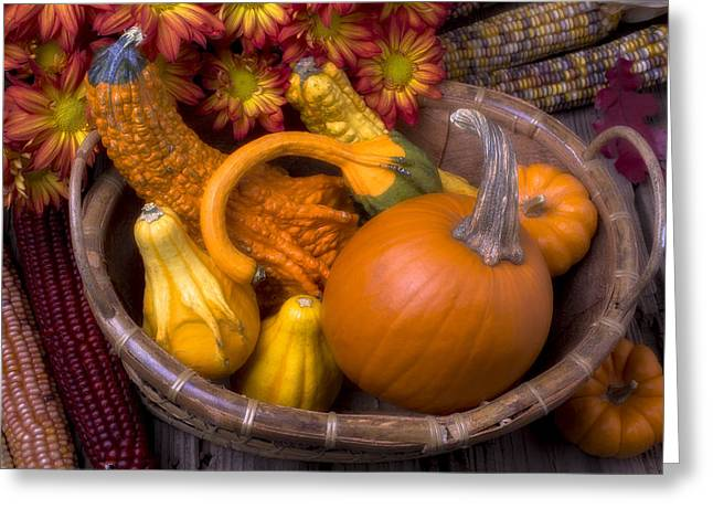 Red Leaves Photographs Greeting Cards - Autumn Basket Greeting Card by Garry Gay
