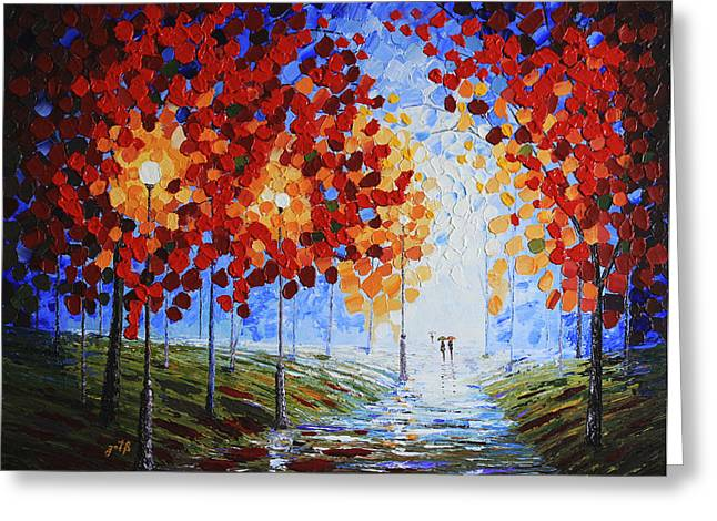 Colors Of Autumn Greeting Cards - Autumn Beauty original palette knife painting Greeting Card by Georgeta Blanaru