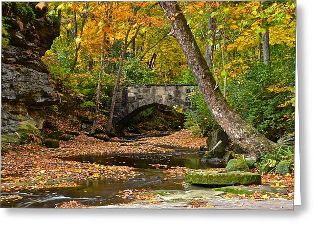 Oak Creek Greeting Cards - Autumn Bridge Greeting Card by Frozen in Time Fine Art Photography