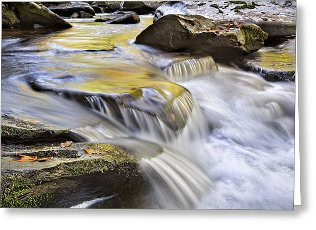 Reflections In River Greeting Cards - Autumn Cascades Greeting Card by Debra and Dave Vanderlaan