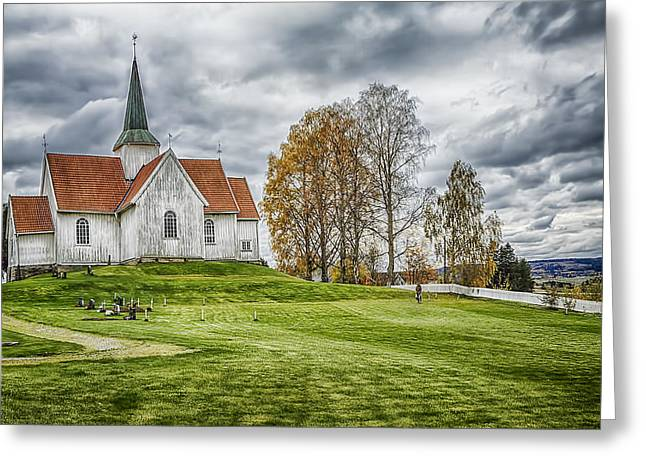 Norway Village Greeting Cards - Autumn Church Greeting Card by Erik Brede