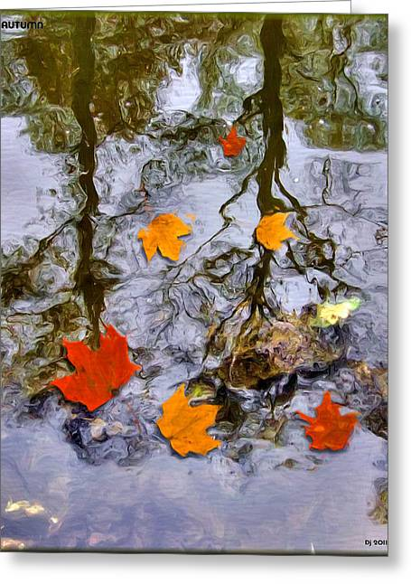 Reflections Of Trees In River Greeting Cards - Autumn Greeting Card by Daniel Janda