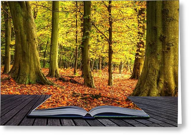 Make Believe Greeting Cards - Autumn Fall forest landscape magic book pages Greeting Card by Matthew Gibson