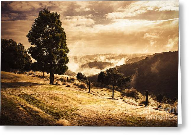 Autumn Forest Landscape. Misty Morning Sunrise Greeting Card by Jorgo Photography - Wall Art Gallery