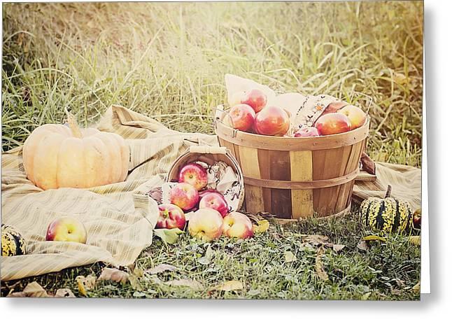 Bushel Basket Greeting Cards - Autumn Harvest Greeting Card by Heather Applegate