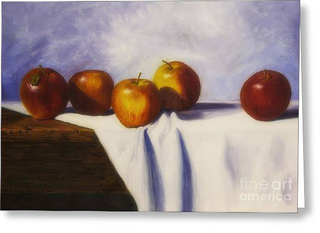 Yellow Apples Greeting Cards - Autumn harvest Greeting Card by Veikko Suikkanen