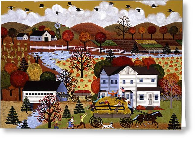 Horse And Buggy Paintings Greeting Cards - Autumn Hayride Greeting Card by Jane Wooster Scott