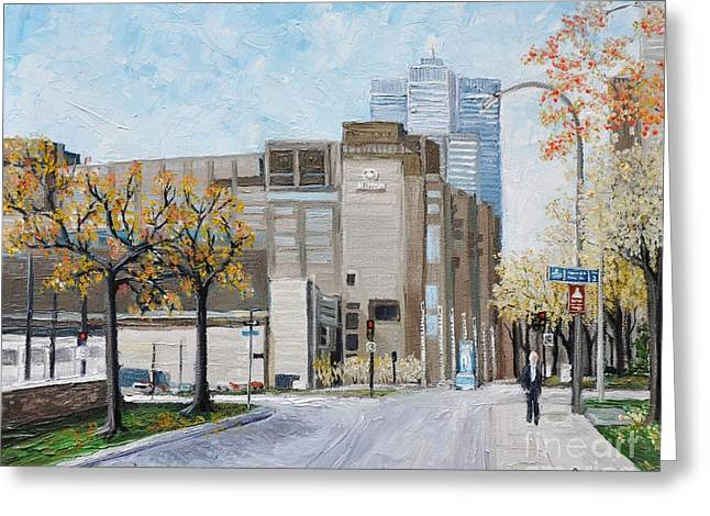 Montreal City Scenes Paintings Greeting Cards - Autumn in the City Greeting Card by Reb Frost
