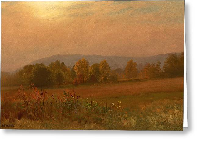 Autumn Landscape Paintings Greeting Cards - Autumn Landscape New England Greeting Card by Albert Bierstadt