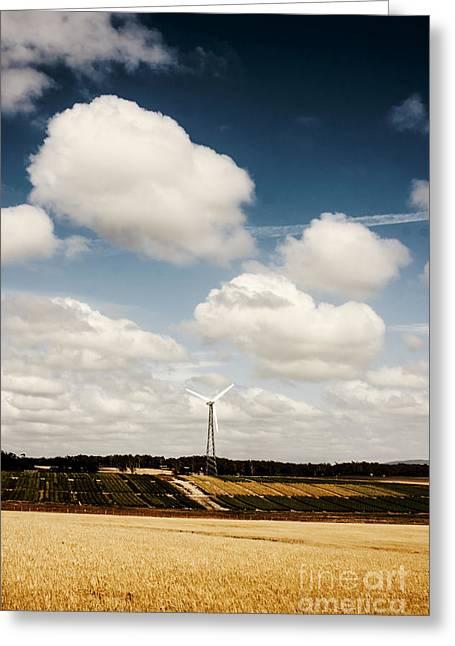 Generators Greeting Cards - Autumn landscape of a sustainable Tasmanian farm Greeting Card by Ryan Jorgensen