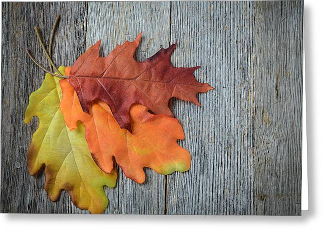 Drip Greeting Cards - Autumn Leaves On Rustic Wooden Background Greeting Card by Brandon Bourdages