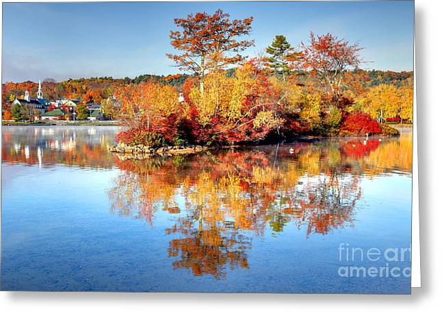 New England Village Greeting Cards - Autumn Reflection Greeting Card by Denis Tangney Jr