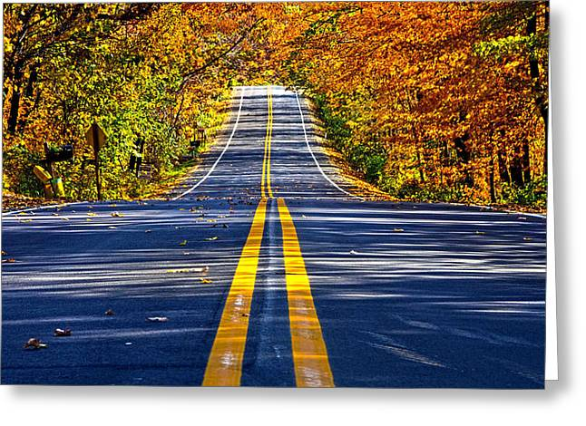 Winter Roads Greeting Cards - Autumn Road Greeting Card by Phil Koch