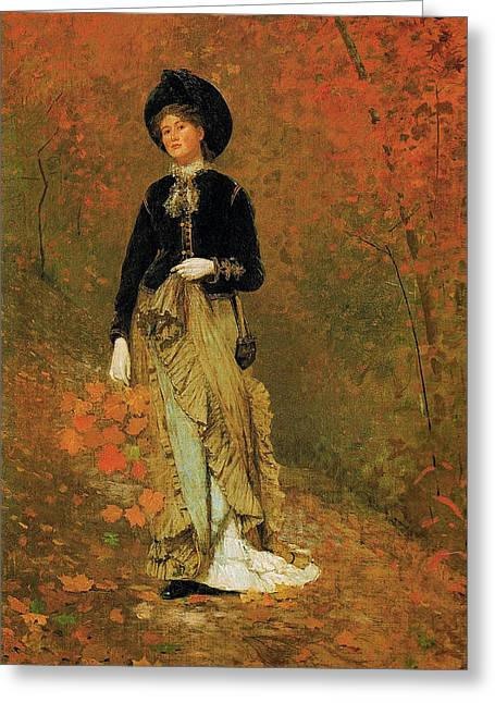 Winslow Homer Greeting Cards - Autumn Greeting Card by Celestial Images