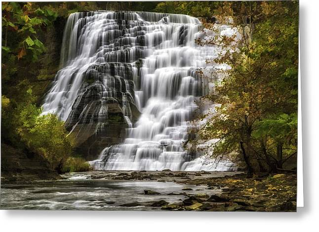 Ithaca Greeting Cards - Autumns Embrace  1427 oil paint  Greeting Card by Karen Celella