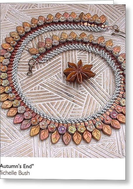 Woven Jewelry Greeting Cards - Autumns End Greeting Card by Michelle Bush