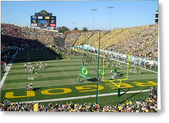 Oregon Ducks Greeting Cards - Autzen Stadium Greeting Card by Nomad Art And  Design