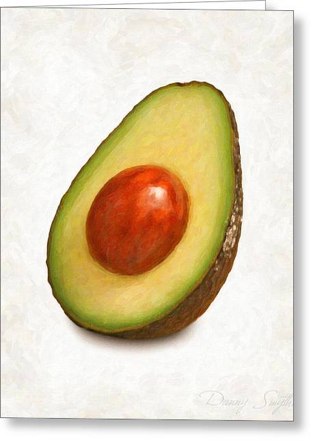 Single Object Paintings Greeting Cards - Avacado  Greeting Card by Danny Smythe