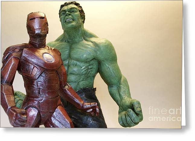Strength Sculptures Greeting Cards - Avengers Greeting Card by Wayne Headley
