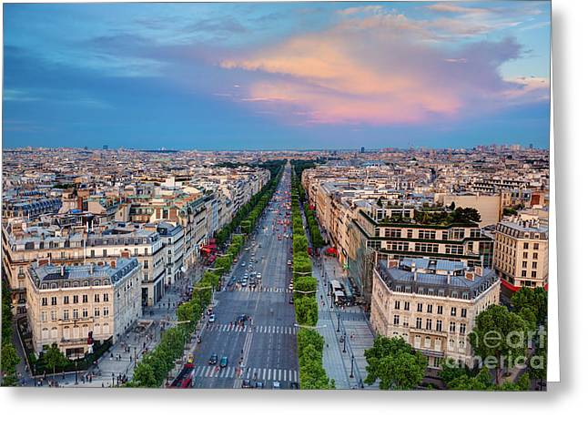 Champs Greeting Cards - Avenue des Champs Elysees in Paris France Greeting Card by Michal Bednarek