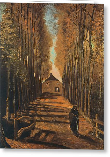 Roadway Paintings Greeting Cards - Avenue of Poplars in Autumn Greeting Card by Vincent van Gogh